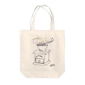 グルグル ハッピーコーヒータイム~挽く~ Tote bags