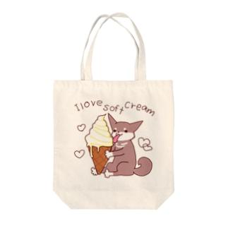 ソフトクリームと柴犬さん(黒柴) Tote bags