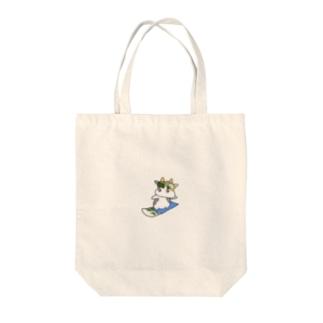 海苔眉毛牛スノボー Tote bags