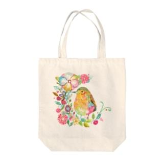 花と鳥 トートバッグ