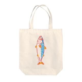 陽気なサバ(タテ) CHEERFUL MACKEREL Tote bags