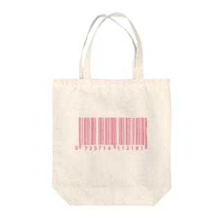 ぴんくばーこーど Tote bags