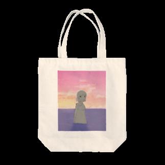 ノアの夕陽とファスナーちゃん Tote bags