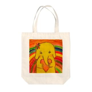 黄色いゾウの女の子。ハコちゃん。 Tote bags