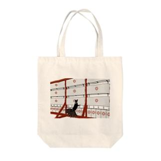 黒九尾の狐火 提灯 Tote bags