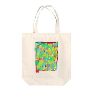 レインボー雨 Tote bags