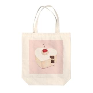 ハートのケーキ Tote bags