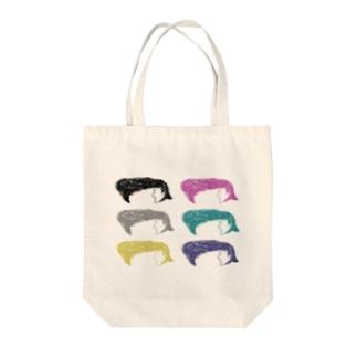 カラフルリーゼントさん Tote bags