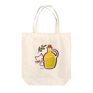 オリーブオイル大好き猫よりこ Tote bags