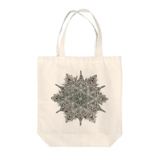 点描 フラワーオブライフ Tote bags