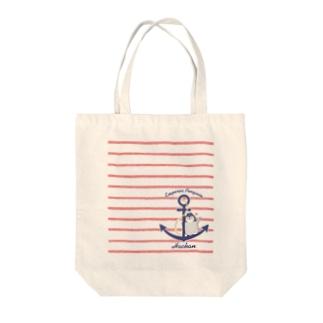 ペンギンはーちゃん(イカリ×ボーダー・mini) Tote bags