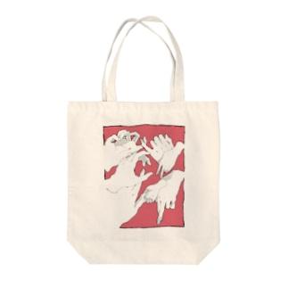 キミの手、僕の手(赤) Tote bags