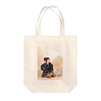 おすわりむもたん Tote bags