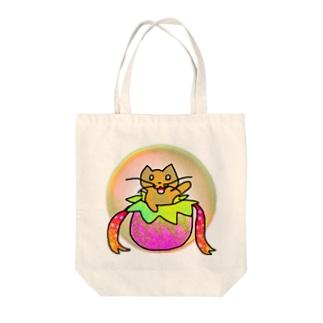 ネコのお届けですにゃ Tote bags