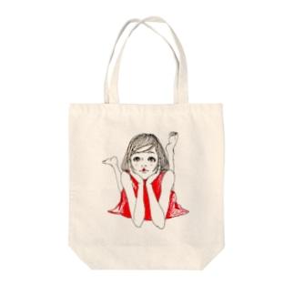 YuLink.( ユリンク )の赤いワンピースの女の子 Tote bags