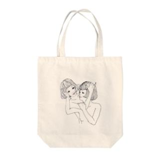 仲良し女の子 Tote bags