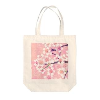 桜と隠れ鳥 Tote bags