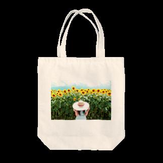 KI のひまわりと麦わら少女 Tote bags
