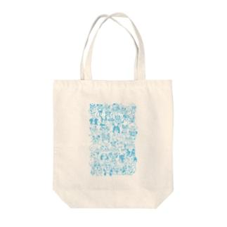 ラブドッグ ブルー Tote bags