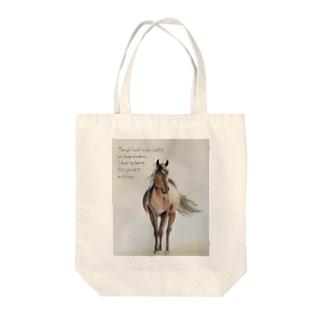 水彩画  風に吹かれる馬 Tote bags