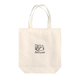 走るパピヨン Tote bags
