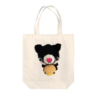 ヒヨコ&黒ネコさんあみぐるみ Tote bags