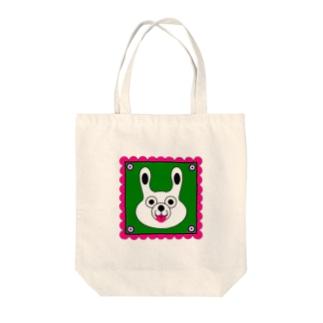 WHITE BUNNY 002 square Tote bags