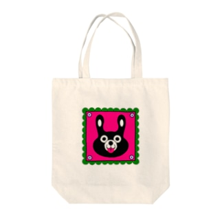 BLACK BUNNY 001 square Tote bags