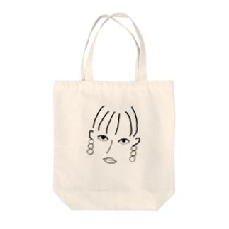 三白眼に見つめられるTシャツ Tote bags