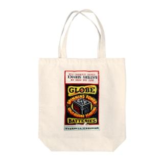 GLOBE BATTERY Tote bags