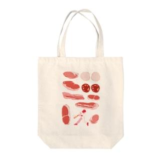 ジャストミート Tote bags