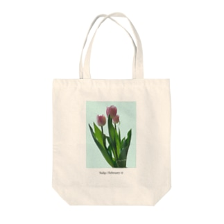 Tulip / pink blue Tote bags