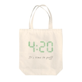 """420 """"It's time to puff"""" アイテム Tote bags"""