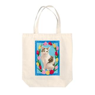 チューリップと猫 Tote bags