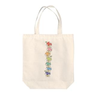 積み上げ7色きのこ Tote bags