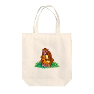 おサルの親子であったかい Tote bags