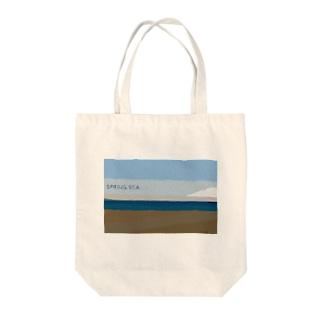 Spring sea Tote bags