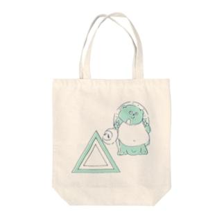 信楽焼たぬきと三角_ブルー Tote bags