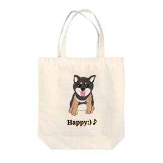 うるうる黒柴犬ちゃん 英語ロゴ Tote bags