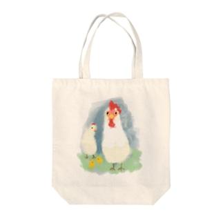 ニワトリの親子 Tote bags