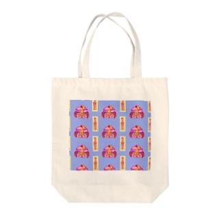 七味田飯店(SUZURI支店)のきょんしーちゃん(おふだつき)総柄 Tote bags