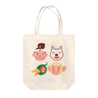 桃太郎と仲間たち Tote bags