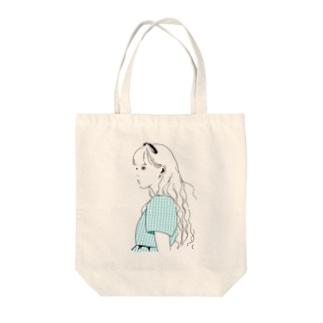 ソーダブルーの女の子 Tote bags