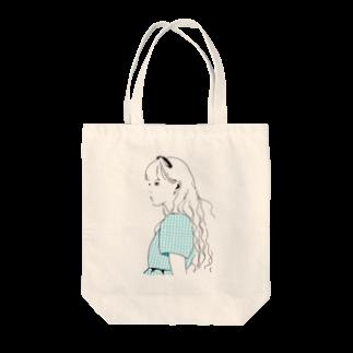 chikalillustのソーダブルーの女の子 Tote bags