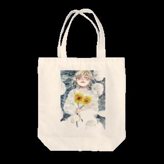 紫陽花イラストレーター オカサヤカ グッズショップの『水面に笑う』©️オカ サヤカ Tote bags