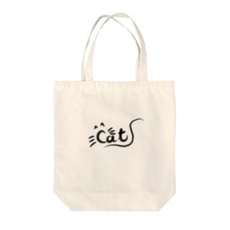 手書き文字(cat) Tote bags