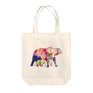 ゾウの親子 トートバッグ