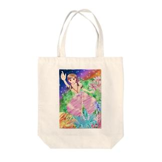 花ラフルGIRL Tote bags