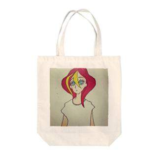 赤い髪の女の子 Tote bags