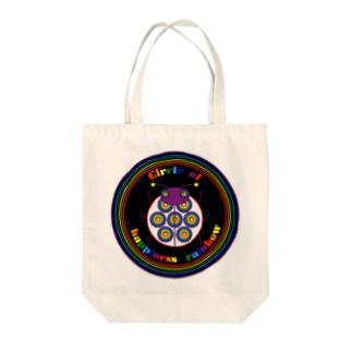 NK♥LOVEのCircle of happiness rainbow<ladybug black> Tote bags